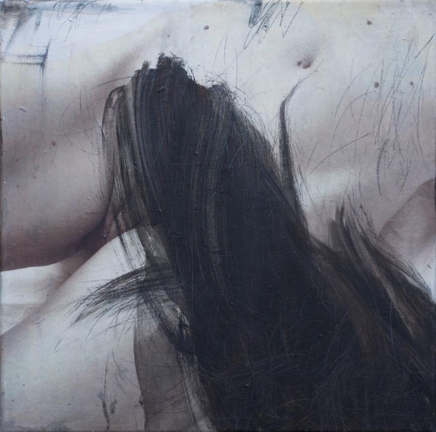 title: rudimentær. hår 5/ rudimentary. Hair 5.  30 x 30 cm  3 000 DKR